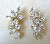 Vintage Large Climbing Rhinestone Clip On Earrings.